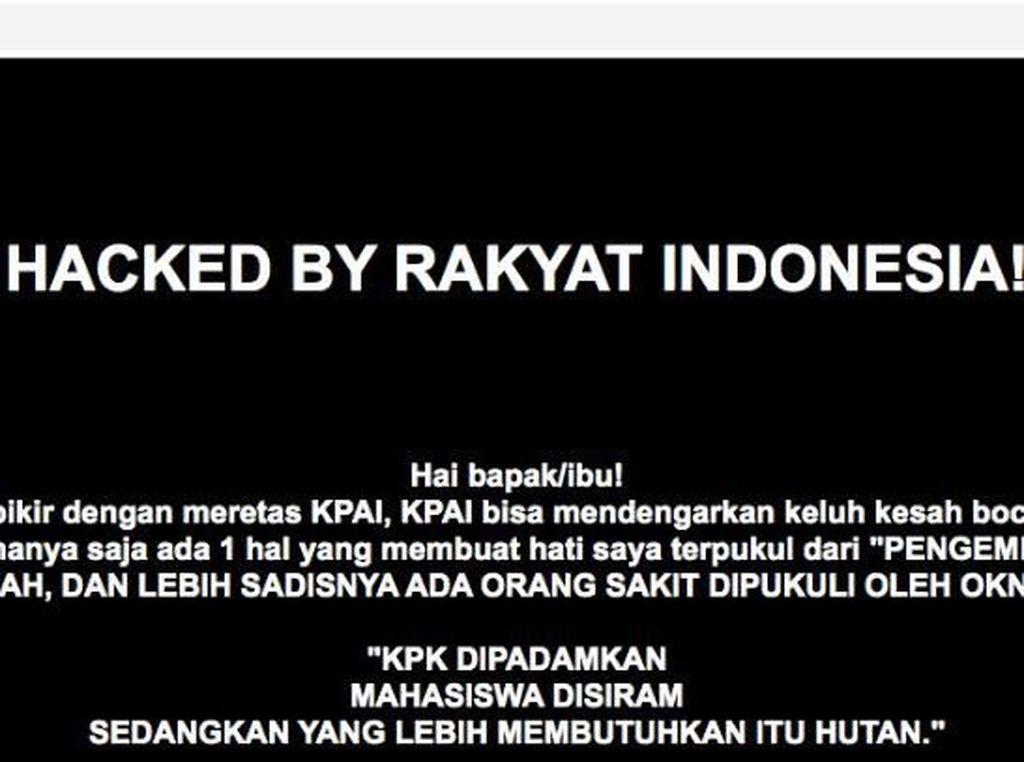Situs KPAI Diretas! Hacker Lempar Pesan soal KPK Dipadamkan