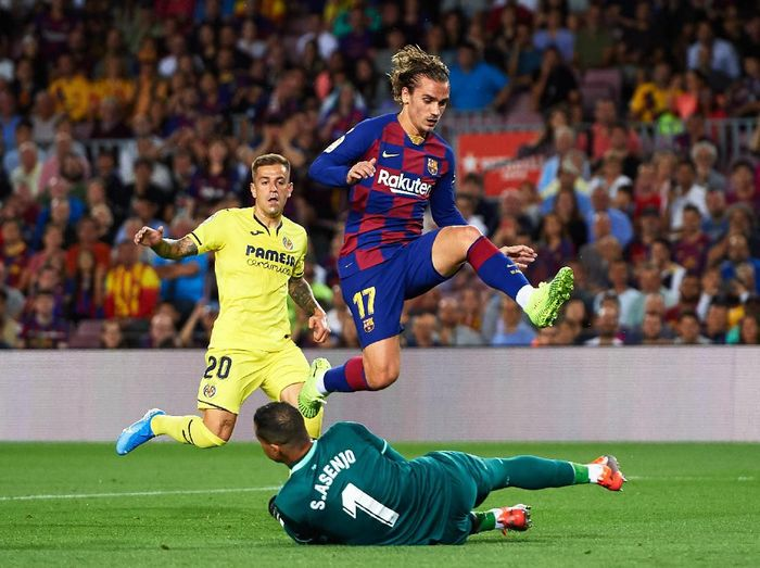 Antoine Griezmann di laga Barcelona vs Villarreal. (Foto: Alex Caparros/Getty Images)