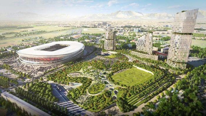 Rancangan pertama yang disebut Manica atau Sportium. Desain tersebutmeliputi ruang terbuka hijau dan beberapa gedung pencakar langit di sekitar stadion utama (Foto: Inter.it)