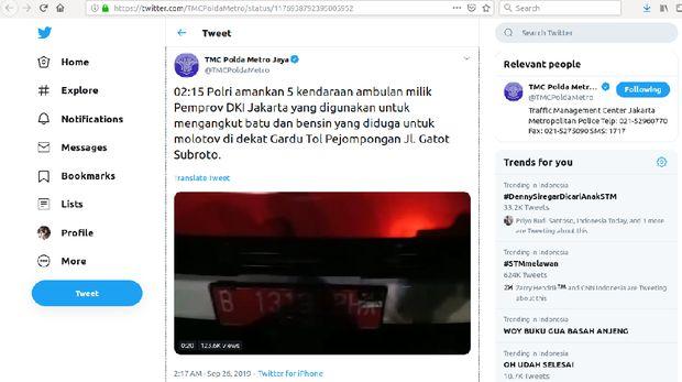 5 ambulans milik Dinkes DKI diduga angkut batu dan bensin