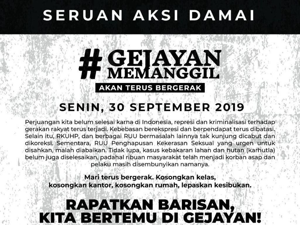Aksi #GejayanMemanggil2, Tim Medis Bersiaga di Sejumlah Titik