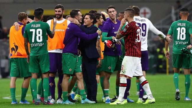 Vincenzo Montella puas dengan kemenangan Fiorentina atas AC Milan di San Siro (Foto: Marco Luzzani/Getty Images)