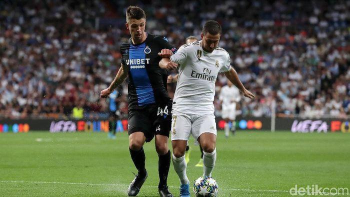 Eden Hazard tak bikin gol dan assist saat Real Madrid menghadapi Club Brugge. (Gonzalo Arroyo Moreno/Getty Images)
