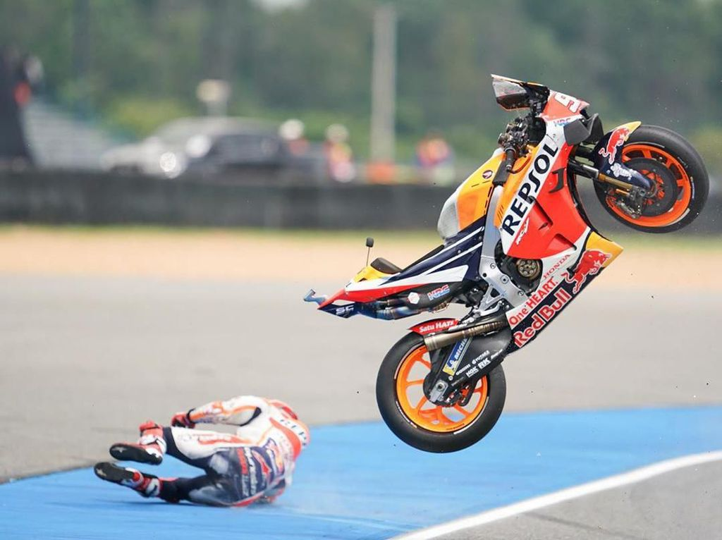 Data Kecelakaan Marquez di MotoGP Thailand Cukup Mengerikan
