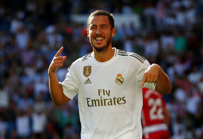 Soccer Football - La Liga Santander - Real Madrid v Granada - Santiago Bernabeu, Madrid, Spain - October 5, 2019  Real Madrids Eden Hazard celebrates scoring their second goal   REUTERS/Javier Barbancho