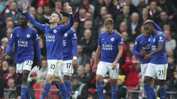 Leicester City's James Daniel Maddison celebrates after scoring his side's goal during English Premier League soccer match between Liverpool and Leicester City in Anfield stadium in Liverpool, England, Saturday, Oct. 5, 2019. (AP Photo/Jon Super)