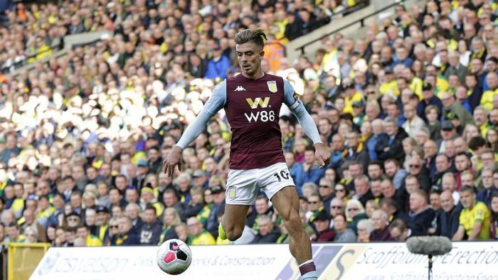 NORWICH, ENGLAND - OCTOBER 05: Jack Grealish of Aston Villa during the Premier League match between Norwich City and Aston Villa at Carrow Road on October 5, 2019 in Norwich, United Kingdom. (Photo by Henry Browne/Getty Images)