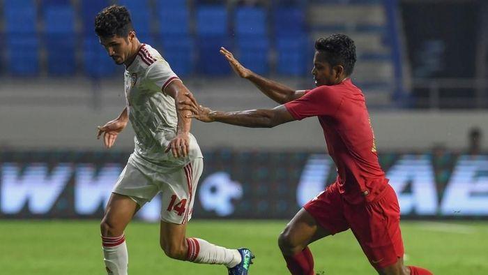 Indonesia tertinggal 0-1 dari Uni Emirat Arab di babak pertama Kualifikasi Piala Dunia 2022 (Foto: KARIM SAHIB / AFP)