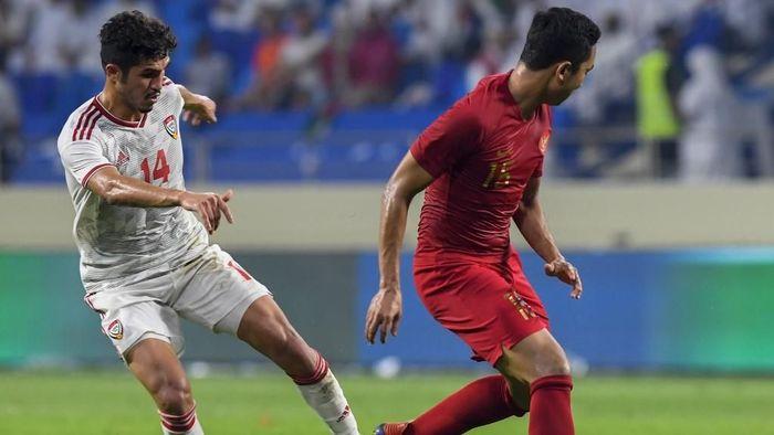 Indonesia kalah telak 0-5 dari Uni Emirat Arab dalam lanjutan Kualifikasi Piala Dunia 2022 (Foto: KARIM SAHIB / AFP)