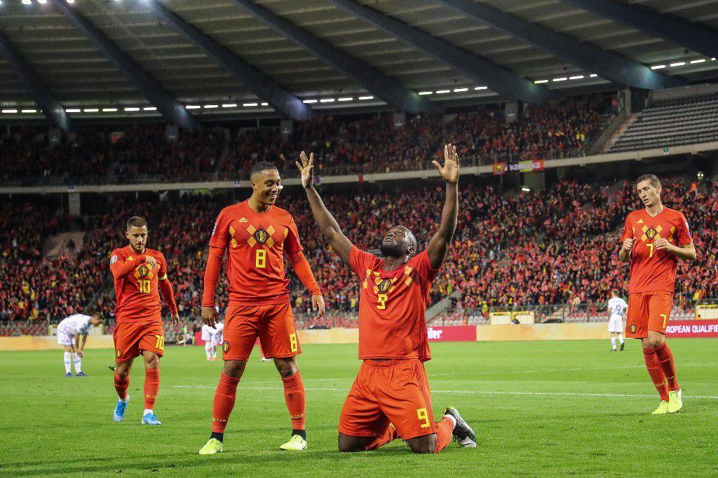 Belgium's Romelu Lukaku celebrates after scoring a goal during the Euro 2020 qualifier group I football game between Belgium and San Marino on October 10, 2019 in Brussels. (Photo by BRUNO FAHY / BELGA / AFP) / Belgium OUT