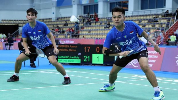 Leo/Daniel akhiri puasa gelar ganda putra Indonesia di Kejuaraan Dunia Badminton Junior.