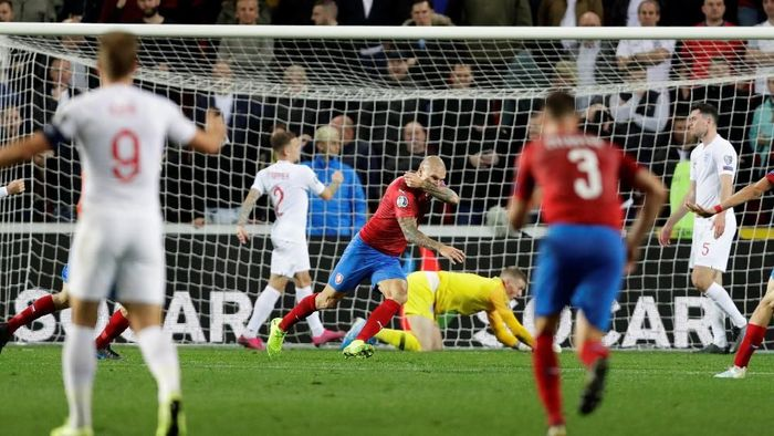 Inggris dikalahkan Republik Ceko 1-2 dalam lanjutan Kualifikasi Piala Eropa 2020 (Foto: David W Cerny/Reuters)