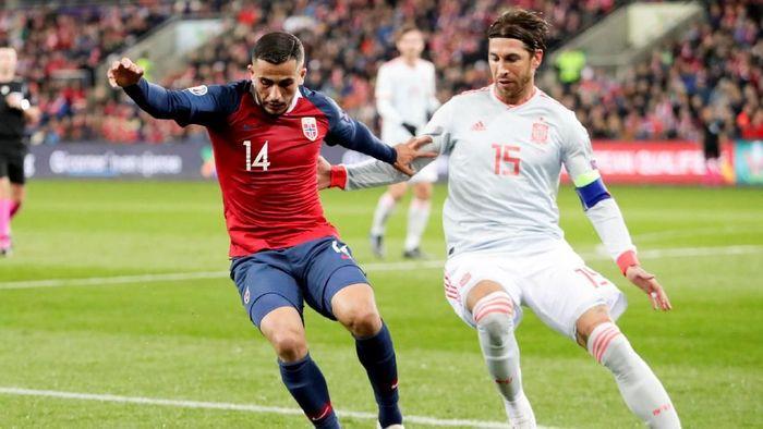 Sergio Ramos menjadi pemain dengan catatan penampilan terbanyak di timnas Spanyol (Foto: NTB Scanpix/Tore Meek)