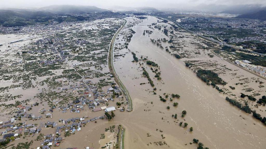 Potret Udara Banjir di Jepang Imbas Topan Hagibis