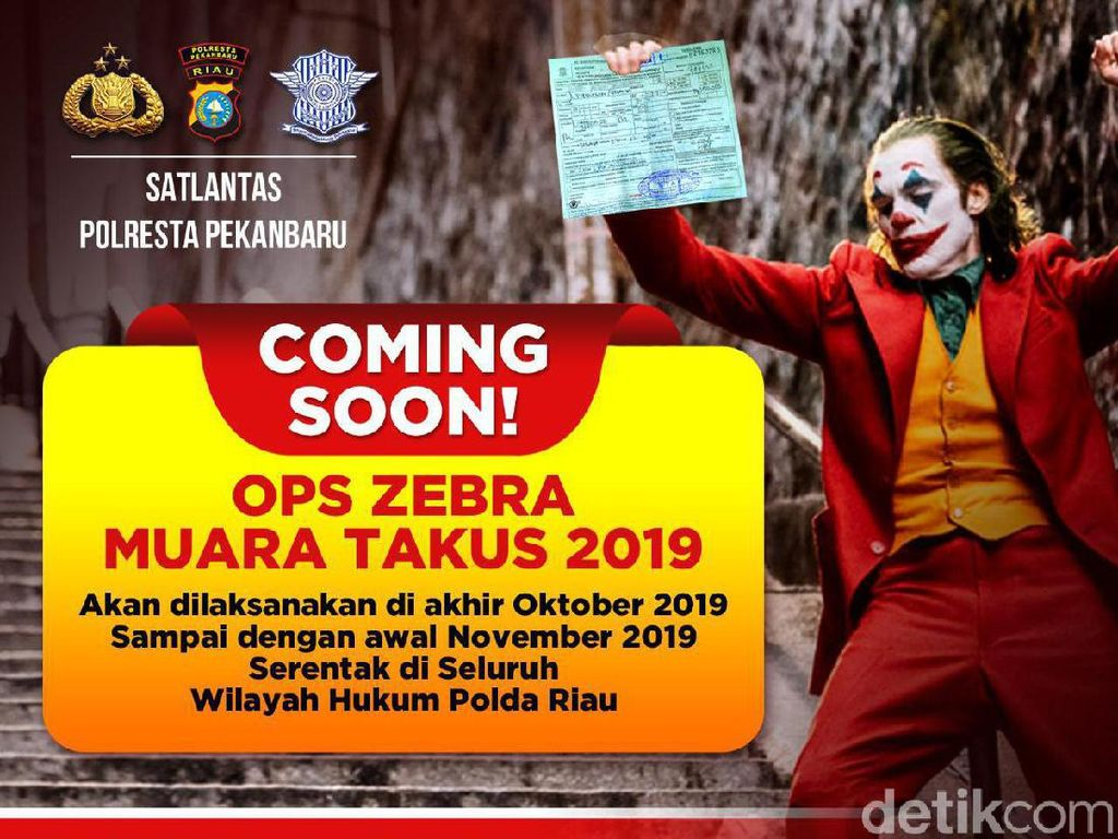 Sosialisasi Operasi Zebra, Polres Pekanbaru Pakai Poster Joker
