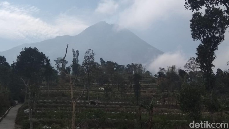 Penampakan Puncak Merapi dari Magelang pada hari ini. (Foto: Eko Susanto/detikcom)