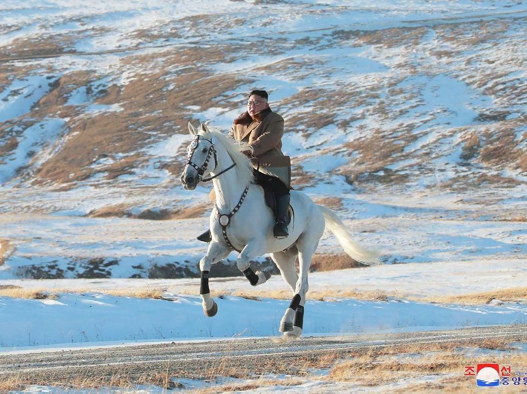 Momen Kim Jong-Un Tunggangi Kuda Putih di Tengah Hamparan Salju