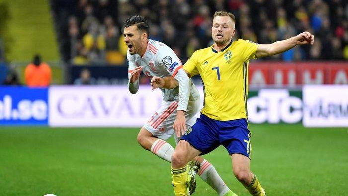 Spanyol bermain imbang 1-1 dengan Swedia di Kualifikasi Piala Eropa 2020 (Foto: TT News Agency/Jessica Gow/via REUTERS)