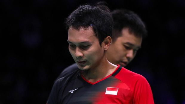 Aksi Mohammad Ahsan/Hendra Setiawan pada perempat final Denmark Open 2019 di Odense, 18 Oktober 2019.