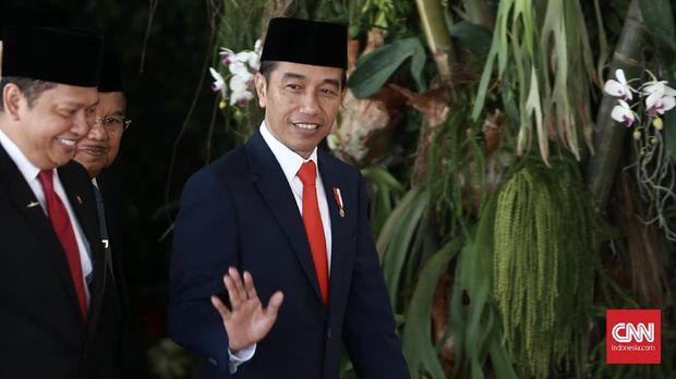Jokowi ketika datang ke Gedung MPR DPR. (