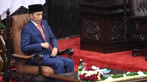 Pidato Kepresidenan Jokowi di ruang Sidang Paripurna MPR DPR. (