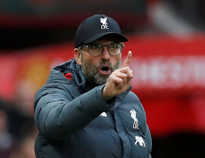 Soccer Football - Premier League - Manchester United v Liverpool - Old Trafford, Manchester, Britain - October 20, 2019  Liverpool manager Juergen Klopp reacts  REUTERS/Russell Cheyne  EDITORIAL USE ONLY. No use with unauthorized audio, video, data, fixture lists, club/league logos or