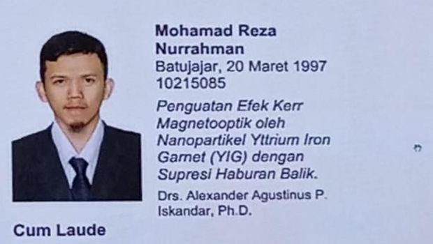 Rahasia Sukses Reza Nurrahman, Anak Sopir Lulusan ITB Raih IPK 3,98