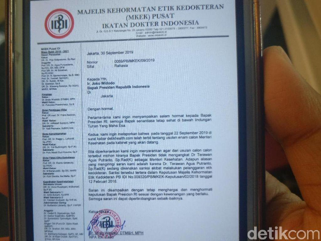 MKEK IDI Benarkan Surat Penolakan Rekomendasi dr Terawan Jadi Menkes