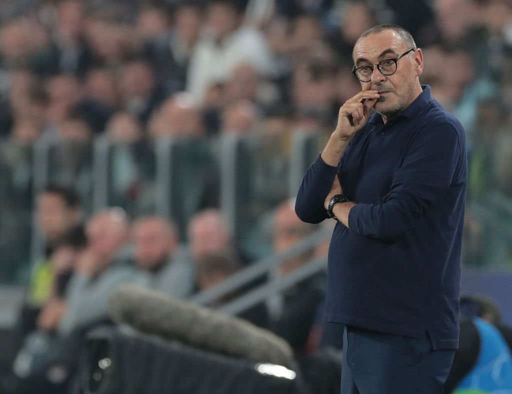 TURIN, ITALY - OCTOBER 22:  Juventus coach Maurizio Sarri looks on during the UEFA Champions League group D match between Juventus and Lokomotiv Moskva at Allianz Stadium on October 22, 2019 in Turin, Italy.  (Photo by Emilio Andreoli/Getty Images)