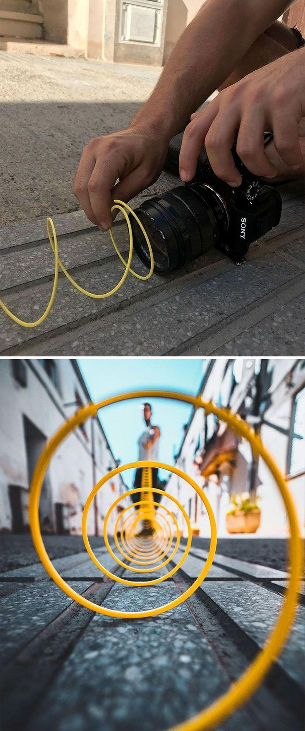 Memanfaatkan tali spiral. Foto: instagram.com/jordi.koalitic