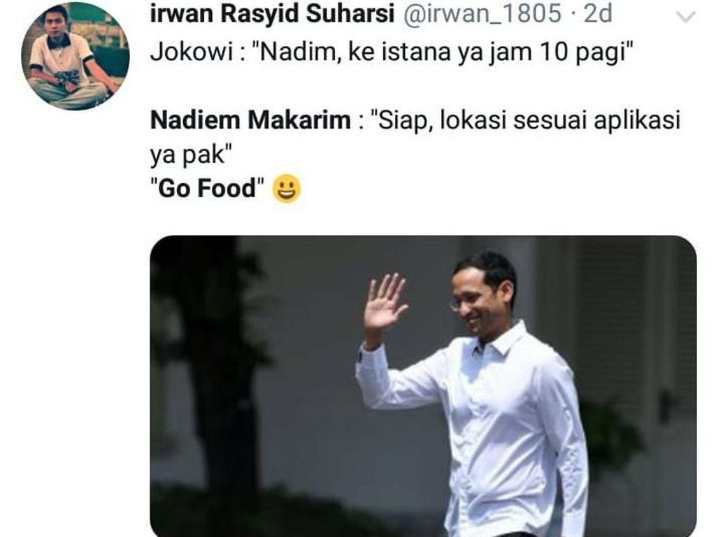 Nadiem Makarim Jadi Mendikbud, Ini Cuitan Kocak Netizen Soal Pesan Makanan