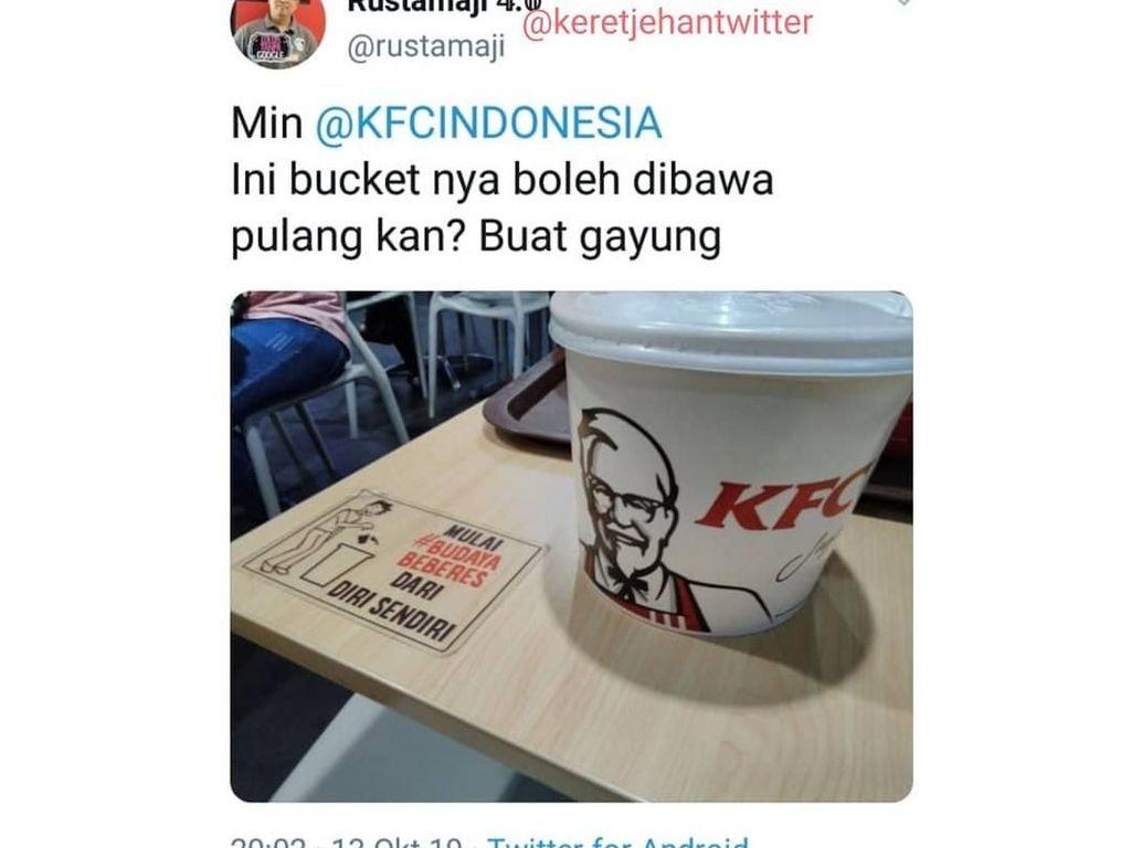 Komentar Kocak Soal Ember KFC Hingga Restoran Tak Sengaja Bunuh Pengunjung