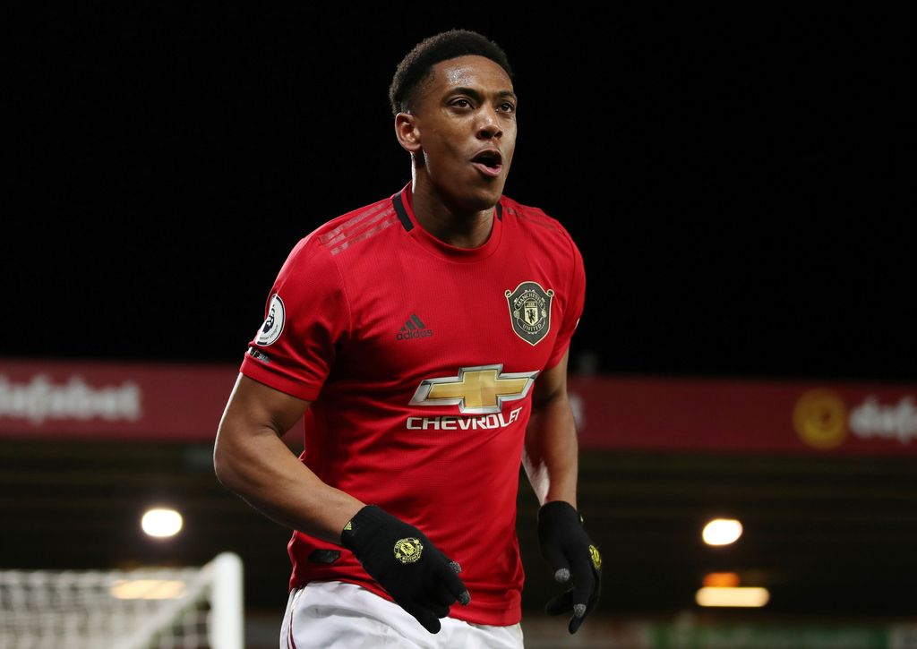 Soccer Football - Premier League - Norwich City v Manchester United - Carrow Road, Norwich, Britain - October 27, 2019  Manchester United's Anthony Martial celebrates scoring their third goal   REUTERS/Chris Radburn  EDITORIAL USE ONLY. No use with unauthorized audio, video, data, fixture lists, club/league logos or