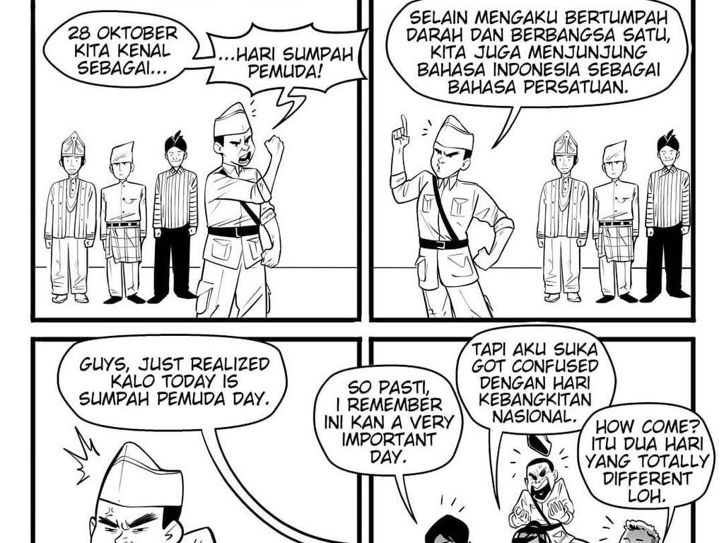 Ilustrasi Bahasa Persatuan ala Komik Faktap di Hari Sumpah Pemuda