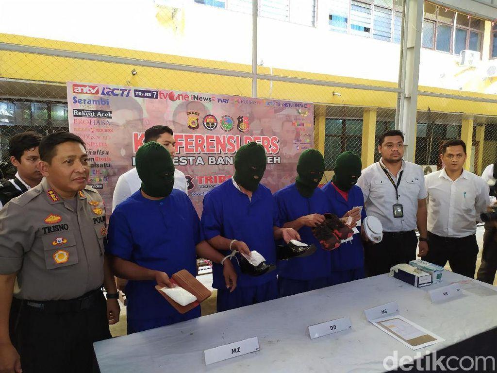 Selipkan Sabu di Sepatu, 4 Pria Aceh Ditangkap Saat Akan Terbang ke Jakarta