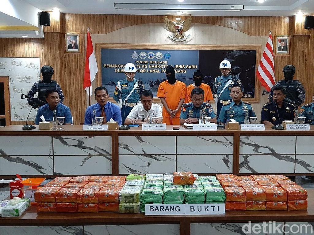 TNI AL Gagalkan Penyelundupan 79 Kg Sabu dari Malaysia ke Sumsel