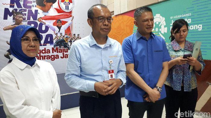 Perwakilan Menpora dan PSSI usai bertemu di Kantor Kemenpora, Selasa (29/10/2019). (Foto: Mercy Raya/detikSport)