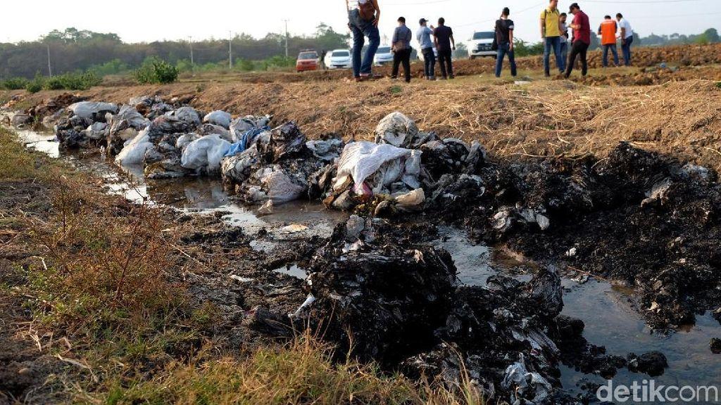 Penampakan Lumpur Beracun yang Sengaja Dikubur di Karawang