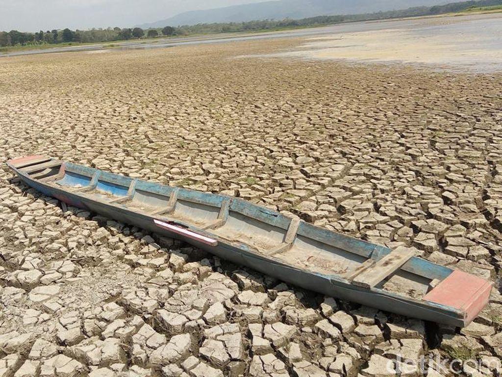 Dilanda Kekeringan Parah, Waduk Mrica Banjarnegara Jadi Daratan