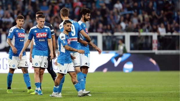 Napoli saat ditahan SPAL 1-1 di Liga Italia. (