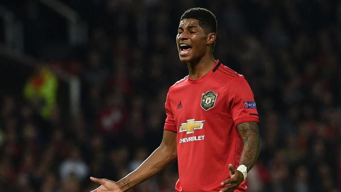 Manchester Uniteds English striker Marcus Rashford gestures during the UEFA Europa League Group L football match between Manchester United and Astana at Old Trafford in Manchester, north west England, on September 19, 2019. (Photo by Oli SCARFF / AFP)
