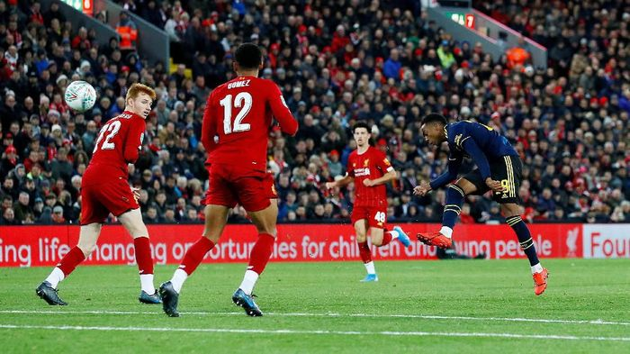 Soccer Football - Carabao Cup - Fourth Round - Liverpool v Arsenal - Anfield, Liverpool, Britain - October 30, 2019  Arsenals Dani Ceballos has his penalty saved by Liverpools Caoimhin Kelleher during the shootout  Action Images via Reuters/Jason Cairnduff  EDITORIAL USE ONLY. No use with unauthorized audio, video, data, fixture lists, club/league logos or live services. Online in-match use limited to 75 images, no video emulation. No use in betting, games or single club/league/player publications.  Please contact your account representative for further details.