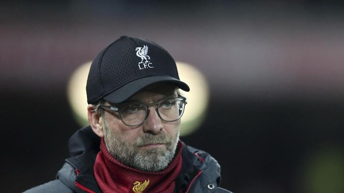 Liverpools manager Jurgen Klopp looks on before the English League Cup soccer match between Liverpool and Arsenal at Anfield stadium in Liverpool, England, Wednesday, Oct. 30, 2019. (AP Photo/Jon Super)