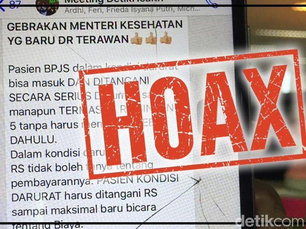 Hoaks Soal Gebrakan Menkes Terawan, Humas BPJS: Tak Ada RS Bintang 5