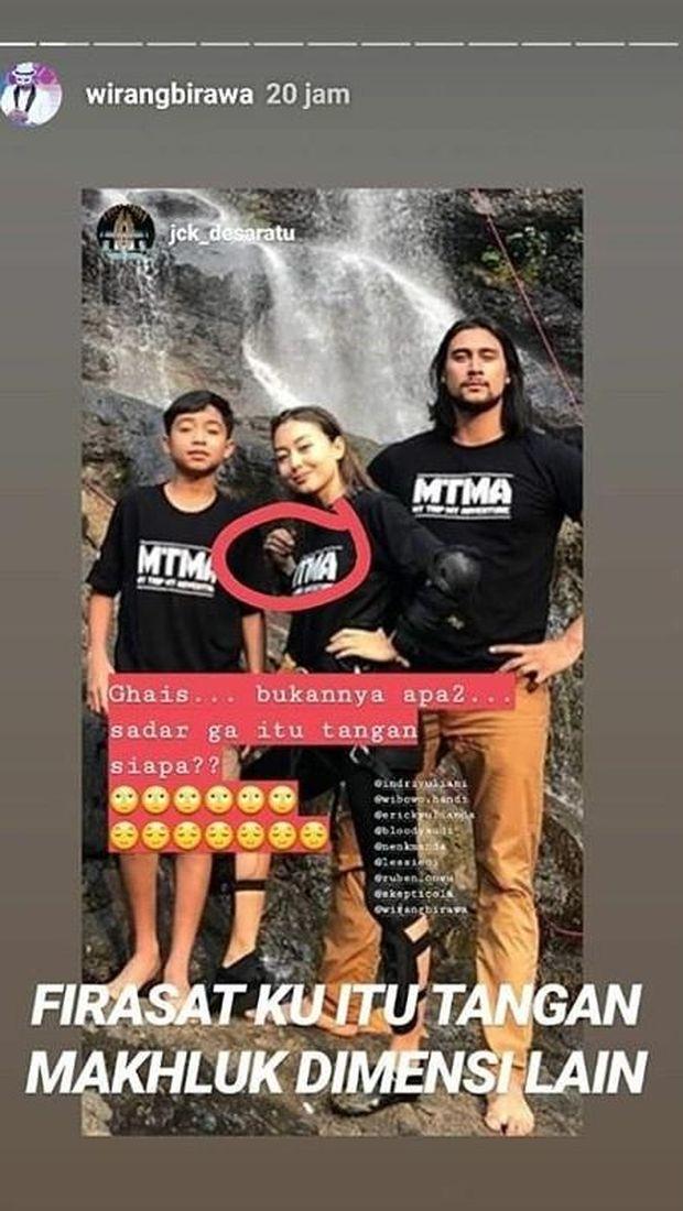 Insta Story Wirang Birawa atas foto tangah pucat di MTMA