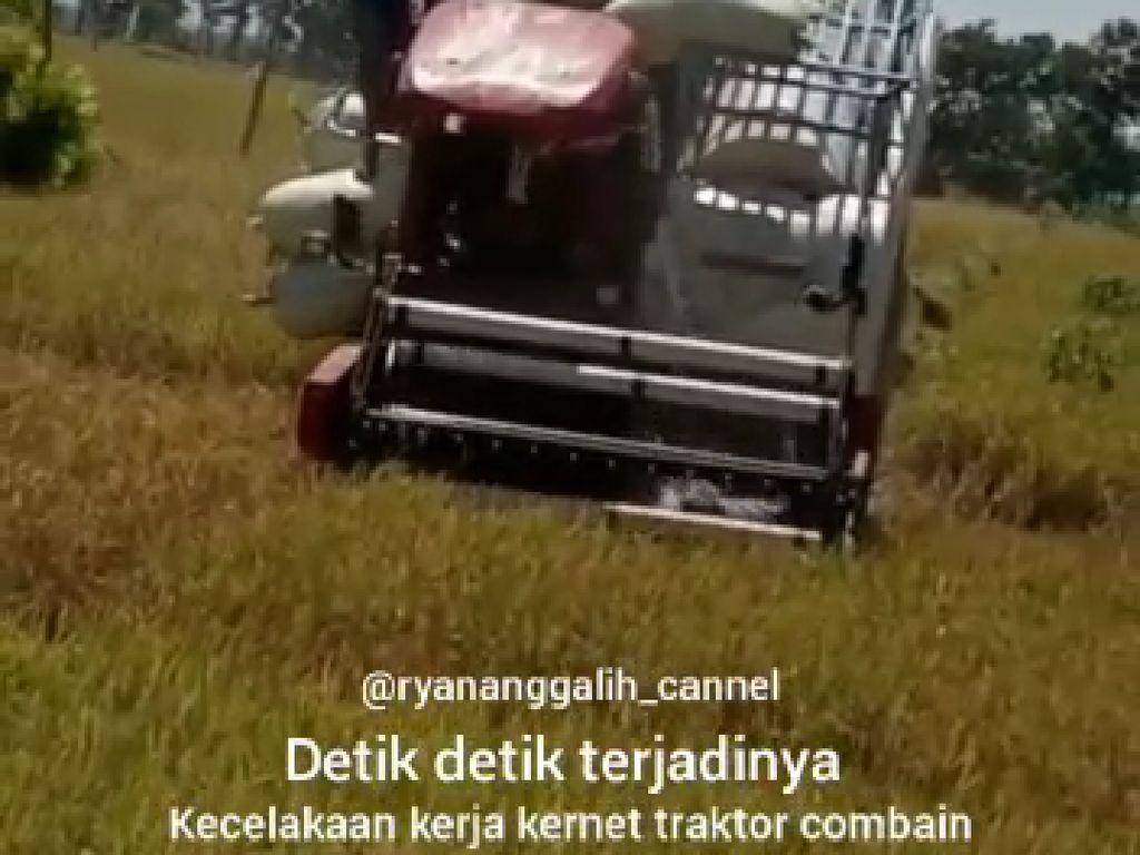 Viral, Buruh Tani di Ngawi Selamat Setelah Jatuh ke Mesin Pemanen Padi