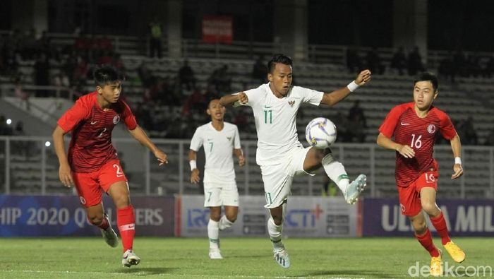 Timnas Indonesia U-19 unggul 2-0 atas Hong Kong di babak I laga Kualifikasi Piala Asia U-19 2020. ((Foto: Rifkianto Nugroho/Detikcom)