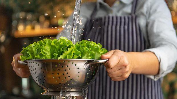 Ilustrasi mencuci sayuran