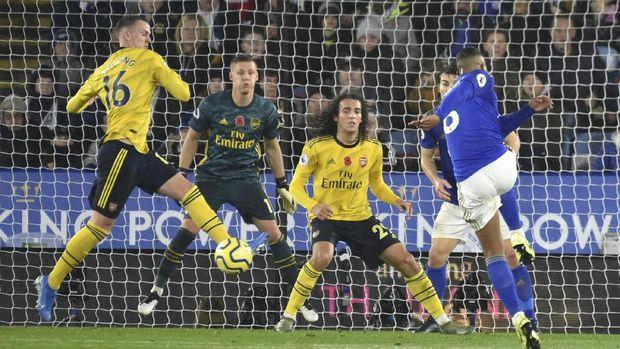Sebanyak dua gol Leicester City ke gawang Arsenal tercipta di babak kedua