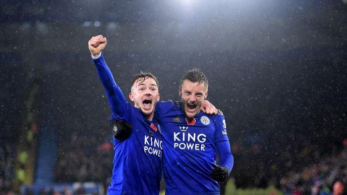 Jamie Vardy dan James Maddison bawa Leicester taklukkan Arsenal. (Foto: Michael Regan/Getty Images)